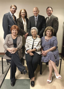 The Western Suffolk BOCES Board of Education: (from left, standing) Peter Wunsch, Ilene Herz, Esq., Sydney Finkelstein, Salvatore Marinello, (seated) Jeannette Santos, Mildred Browne, Maryann Zumpano