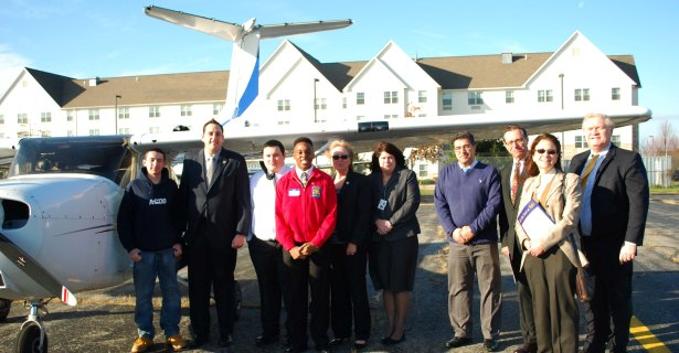 Assemblyman Chad Lupinacci (second, l.) tours Western Suffolk BOCES schools including Wilson Tech's Republic Airport campus. joining him are (l. to r.) Peter Montenegro, Carlos Barrera-Rojas, Jahad Hoyt, Maureen Donohue-Whitley (District Superintendent), Nancy Kelsey (Executive Director of Career and Technical Education), Mehdi Delshad (Aviation Science/Flight instructor), Peter Wunsch (BOCES Board President), Ilene Herz, Esq. (BOCES Board member) and Michael Flynn (Chief Operating Officer).