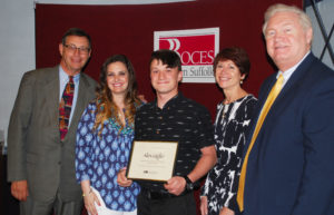Alex Giglio of Half Hollow Hills (center) is congratulated by (from left) Western Suffolk BOCES Board of Education President Peter Wunsch, School Psychologist Jean Marie Ciaffone, Special Education Executive Director Teresa Strum and WSBOCES Chief Operating Officer Michael Flynn at May 9 Student Recognition ceremonies