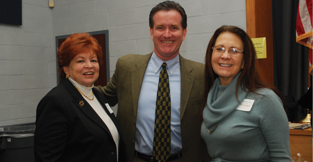 NYS Senator John Flannagan (R) meets with Jeannette Santos and Ilene Herz.